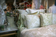 A gorgeous jacquard from Sferra in silver sage.
