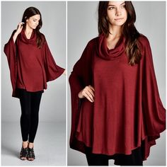 "X ""Crystalline"" Loose Cowl Neck Poncho Top Loose cowl neck poncho top. Available in black, burgundy and taupe. This listing is for the BURGUNDY. Brand new. True to size. Bare Anthology Tops Blouses"