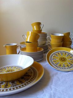 CYBER MONDAY ETSY Complete Set of Vintage Yellow Dishes // Mikasa Duplex by Ben Seibel // 1970s Plates, Mugs, Bowels, Serving Platters