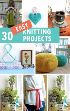 A roundup of30 easy knitting projects beyond blankets and scarves. Crafts, home decor, and accessories knitting for beginners ideas. Beginner Knitting Projects, Knitting For Kids, Knitting For Beginners, Yarn Crafts, Home Crafts, Diy And Crafts, Crafts For Kids, Edible Crafts, Diy Craft Projects