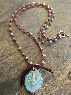 Fleur de Lis Crochet Necklace Knotted Blue by by TwoSilverSisters
