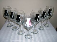Bachelorette Bridesmaids gift wine glasses
