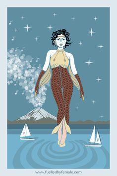 She Walks On Water (koi fish goddess girl power suit) - Daniel Orlick fashion art