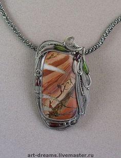 Picture Jasper filigree pendant