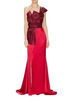 Silk One Shoulder Sculpted Bodice Gown