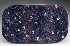Birger Kaipiainen Platter, Arabia, 1950s. Hand-painted decoration of flowers with applied ceramic beads.