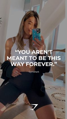 """""""You aren't meant to be this way forever."""" - Gymshark. Save this to your motivational board for a reminder! #Gymshark #Quotes #Motivational #Inspiration #Motivate #Phrases #Inspire #Fitness #FitnessQuotes #MotivationalQuotes #Positivity #Routine #HealthyMindset #Productive #Dreams #Planning #LifeGoals Motivational Board, Inspirational Quotes, Sport Inspiration, Motivationalquotes, Quote Of The Day, Meant To Be, Routine, Bring It On, Muscle"""