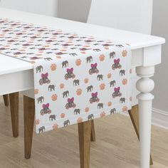 Cute elephant waving on Minorca by diseniaz Mitered Corners, Cute Elephant, Floral Watercolor, Table Runners, Color Splash, Blush Pink, Shabby Chic, Home And Garden, Dining Table
