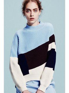 *geo knit pull カラーブロックニット