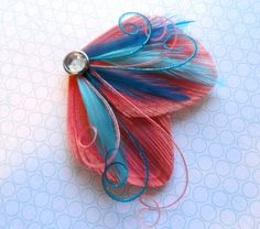 DREAM in Coral and Turquoise Peacock Feather Hair by Lucyohlucy, $18.50