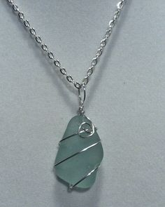 Aqua Beach Glass Necklace by TreasuresFromTheLake on Etsy