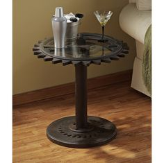 If you love Steampunk and Industrial style home decor, our Industrial Age Gears Side Table is for you!