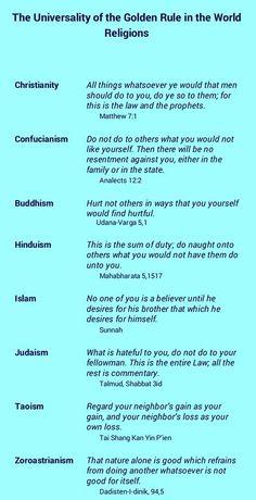 ALL faiths teach love thy neighbor! I'm sure they all teach, repay evil with good, too.