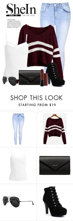 """Sweater - Shein"" by nevaehkern ❤ liked on Polyvore featuring Glamorous, Sans Souci, Balenciaga, Ray-Ban, autumn, contestentry, fashionset and falltrend"