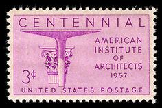 This stamp honoring architects was issued on the centennial anniversary of the founding of the American Institute of Architects.