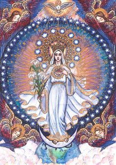 "Our Lady of America July 2012 Watercolor and Ink 8 by 11 inches ""Hail, Mary, White Lily of the Glorious and Always-Serene Trinity! Our Lady of America Blessed Mother Mary, Divine Mother, Blessed Virgin Mary, Catholic Art, Religious Art, Our Lady Of America, Hail Holy Queen, Jesus E Maria, Christian Artwork"