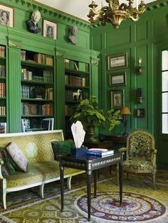 thefoodogatemyhomework: Few things I love more than a green library. And this decidedly Continental specimen was created by Paris-based designers Michael Coorengel and Jean-Pierre Calvagrac for Hermes dynasty brothers Laurent and Renaud Mommeja. Home Interior, Interior Decorating, Decorating Ideas, Decor Ideas, Classic Interior, Room Ideas, Green Library, Cozy Library, Library Books