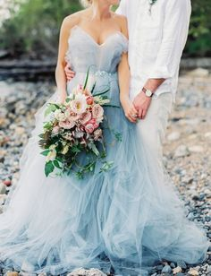 Carol Hannah blue wedding gown