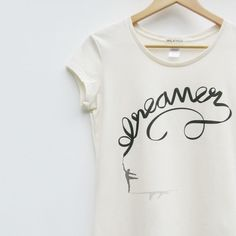 Dreamer Typography Tshirt Women in Natural Organic by milatree
