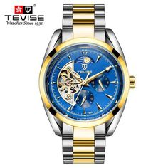 Tevise mechanical golden watch with a blue face and moon phase complication at the top of the dial Mens Dress Watches, Men's Watches, Golden Watch, Gear Best, Silver Water, Skeleton Watches, Automatic Watches For Men, Mechanical Watch, High End Fashion