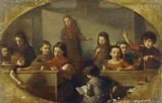 """Board School Children"", 1874. Barnett Samuel Marks (1827-1916), British artist. Amgueddfa Cymru – National Museum Wales."