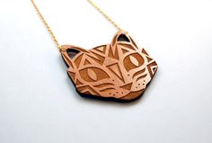 Laser Engraved Wood Cat Face Pendant Necklace - Geometric Tabby Pattern Laser-Cut Wooden Kitty