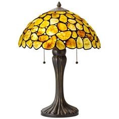 Natural Gemstone Yellow and Bronze Table Lamp -