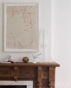 Drawing by Elliott Puckette above the original restored mantel // Remodelista's Francesca Connolly's Brooklyn Home