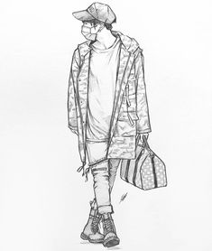 Just a little boy going for a stroll 😌🐈 Kpop Drawings, Art Drawings Sketches, Sketch Drawing, Sketch Inspiration, Bts Chibi, Kpop Fanart, Art Sketchbook, Drawing People, Fashion Sketches
