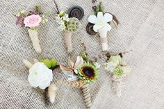 Safari inspired wedding boutonnieres, photos by Kay English Photography via  junebugweddings.com