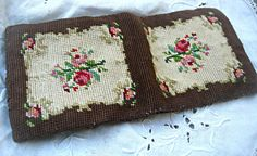 Vintage needlepoint wallet brown with roses by LittleBeachDesigns, $34.00