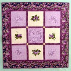 Advanced Embroidery Designs - Violet Redwork Quilt Block Set.