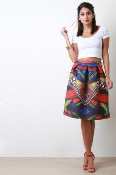 50f106795cad5 Geo Print Scuba Box Pleated A-Line Skirt Box Pleats