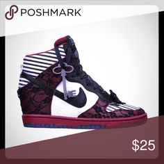 Extreme ISO! ❌DO NOT BUY! I need these in a size seven preferably WITH the key and box.p, but will take them without either for a good deal. Tags: Kira Smith Alice and Wonderland. Lace bow leather Nike Doernbecher Dunk Sky High Hi.  Will trade ANYTHING!  Nike Shoes Sneakers