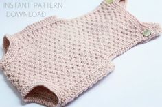 Baby romper Knitting pattern Mia download pdf baby by Dreamiknit