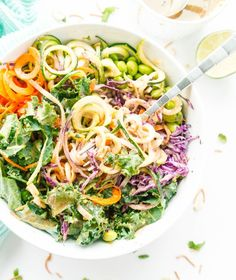Crunchy Thai Noodle Salad and Oil-Free Spicy Almond Butter Dressing Sin Gluten, Gluten Free, Carrot Noodles, Rice Noodles, Spaghetti Noodles, Whole Food Recipes, Dinner Recipes, Cooking Recipes, Vegetarian Recipes