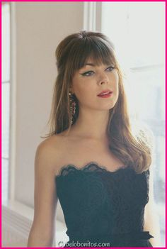 formal hairstyles With Bangs - The New Margo & Me Website Relaunch Night Out Hairstyles, Party Hairstyles For Long Hair, Fringe Hairstyles, Formal Hairstyles, Hairstyles With Bangs, Girl Hairstyles, Wedding Hairstyles, Bangs Updo, Hairstyle Ideas