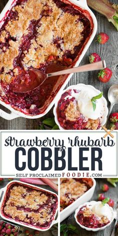 Strawberry Rhubarb Cobbler is a simple and easy dessert recipe that is perfect f. Strawberry Rhubarb Cobbler is a simple and easy dessert recipe that is perfect for summer. Sweet, tart, and perfect when topped with vanilla ice cream! Easy Rhubarb Recipes, Strawberry Rhubarb Recipes, Strawberry Cobbler, Rhubarb Ideas, Rhubarb Rhubarb, Strawberry Brownies, Strawberry Plant, Strawberry Pretzel, Strawberry Margarita