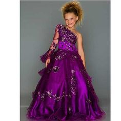 Apparel: Sugar Purple One Shoulder Sparkle Design Pageant Dress Girls 2T-14 - Buy New: £531.06 [UK & Ireland Only]