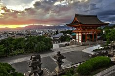 Sunset from Kiyomizudera Kiyomizu-dera Buddhist temple UNESCO world heritage site Kyoto Japan Kiyomizu Temple, Japan Travel, Japan Trip, Buddhist Temple, Travel Videos, Kyoto Japan, World Heritage Sites, Vacation Spots
