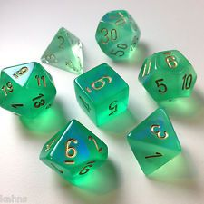 Chessex Dice Poly - Borealis Lt. Green with Gold-Set Of 7- 27425 - Free Bag! DnD