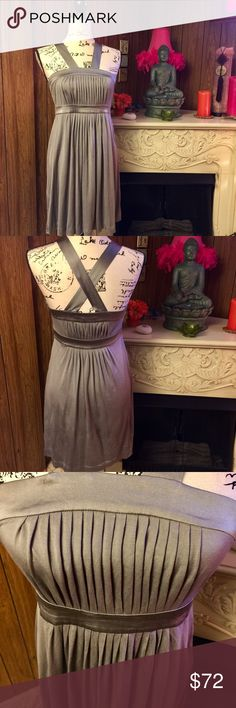 """Banana Republic Silk Pleated Crisscross Dress Wow gorgeous!! If only I were a size 4. New W/O tags. 100% Silk dress size 4. A beautiful grayish green. So well made with a ribboned hemline and a 12"""" side zipper beautiful pleats front and back. This dress is 27"""" long from under the arm along the side seam to the bottom of the dress. Banana Republic Dresses"""