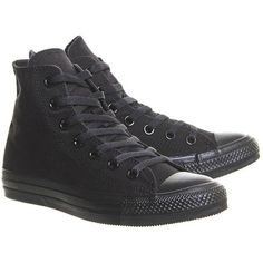 All Star Hi Trainers by Converse Supplied by Office ($67) ❤ liked on Polyvore featuring shoes, sneakers, black, high top shoes, converse sneakers, black high top shoes, black high tops and converse high tops