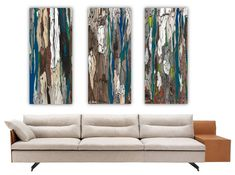 extra large wall art blue teal oversized triptych wall art rolled canvas print trees abstract artwork