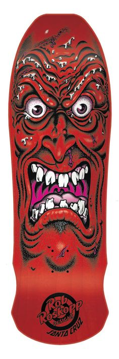 Santa Cruz Roskopp Face Re-Issue 9.5 Skateboard Deck - red - Skate Shop > Skateboard Parts > Skateboard Decks > Cruiser Skateboard Decks