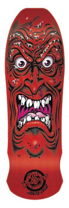 Santa Cruz Roskopp Face Re-Issue 9.5 Skateboard Deck - red - Skate Shop > Skateboard Parts > Skateboard Decks > Cruiser Skateboard Decks