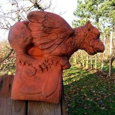 LARGE STONE DRAGON FINIAL MYTHICAL ORNAMENT STATUE