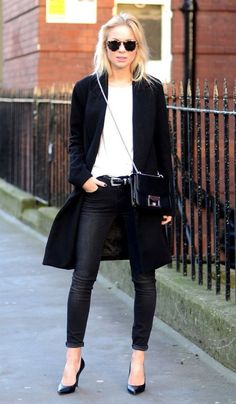 black peacoat + white tee + black skinny jeans + black and silver purse + black pointy toe heels