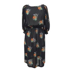 1970s black chiffon floral vintage dress