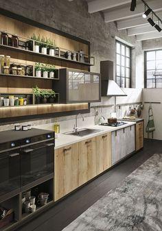 idee-deco-cuisine-plantes-vertes-plafond-blanc-avec-poutre-revetement-sol-bois-peint-noir-tapis-gris